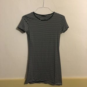 Zsiibo Navy Blue and White Striped Mini Dress